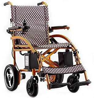 BYCDD Motor Silla de Ruedas, Silla de Ruedas Plegable Ligera Motor Eléctrica Power Chair para Personas Mayores y discapacitadas para el Transporte y Almacenamiento Silla Eléctrica,Gold