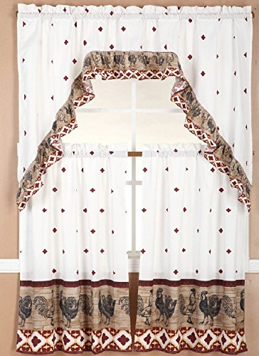 Comfy Deal 3 Pieces Kitchen/Cafe Curtain Tier and Swag Set (Beige with Rooster)