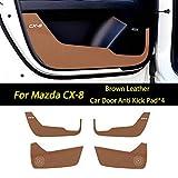 マツダCX-8プロテクターカーボンファイバーレザーの車のドアアンチキックパッドステッカー (褐色)