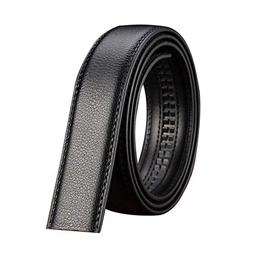 TOOGOO Men's Luxury Leather Belt Automatic Leather Waist Belt Belt No Buckle Black