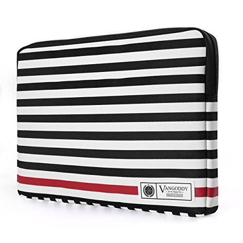 Vangoddy Luxe Collection 15.6 inch Laptop Tablet Sleeve Black White Accent Strip