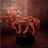3D Illusion Animal Night Light Pour Cadeau, Décor Led Lampe De Bureau Xmas Décor Table Lumières Idéal Pour La Maison Chambre D'Anniversaire Enfants Présentent De Noël
