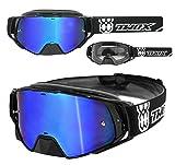 TWO-X Rocket Crossbrille schwarz Glas verspiegelt blau MX Brille Nasenschutz