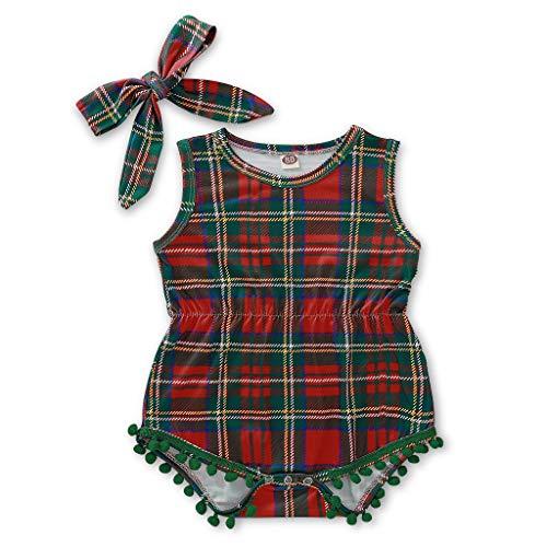 sunnymi - Traje de baño para bebé, diseño de rayas navideñas con borlas verde 12-18 Meses