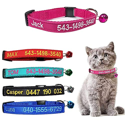 Collar de Gato Personalizado con Campana, Collar de Gato con Hebilla de liberación de Seguridad, Nombre de identificación de Mascota Bordado Tel en el Collar de Gatito