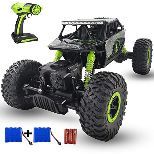 SZJJX Remote Control Car 2.4Ghz RC Cars 4WD Powerful All Terrains RC Rock Crawler Electric Radio Control Cars Off Road RC Monster Trucks Toys with 2 Batteries for Kids Boys Girls Green