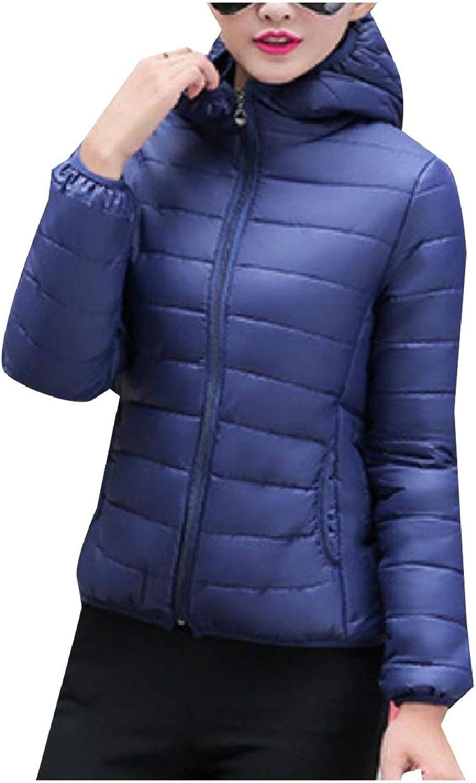 Abetteric Women Hooded Quilted Puffer Coat Zip Short Curvy Warm Parka Jacket