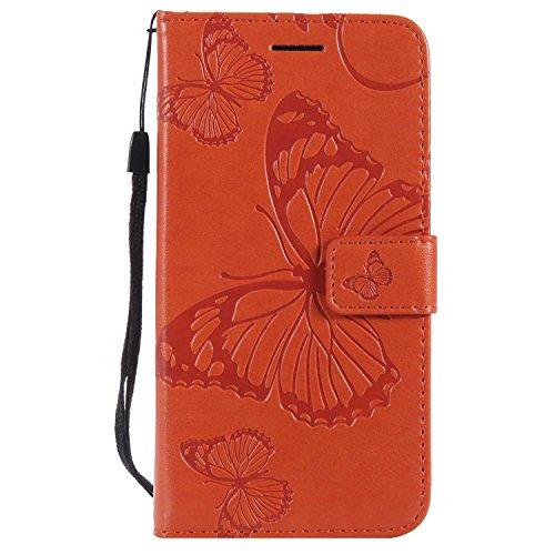 DENDICO Coque Galaxy A5 2016, Papillon Imprimé PU en Cuir Coque Magnétique Portefeuille TPU Étui Housse pour Samsung Galaxy A5 2016 - Orange