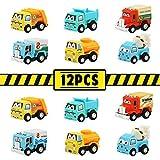 TONZE Coches Juguete Camion Mini Vehiculos de Construcción Tire hacia Atrás y Suelte Juego Set Coches Pequeños para Infantiles Niños Niñas 3 4 5 Años (12 Autos)