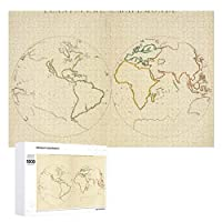 INOV 世界地図 輪郭2 ジグソーパズル 木製パズル 1000ピース インテリア 集中力 75cm*50cm 楽しい ギフト プレゼント