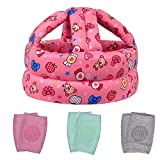 TORASO Baby Head Protector & Baby Knee Pads for Crawling,Infant Safety Helmet & Walking Baby Helmet,for Age 6-36 Months, Pink Candy(A)