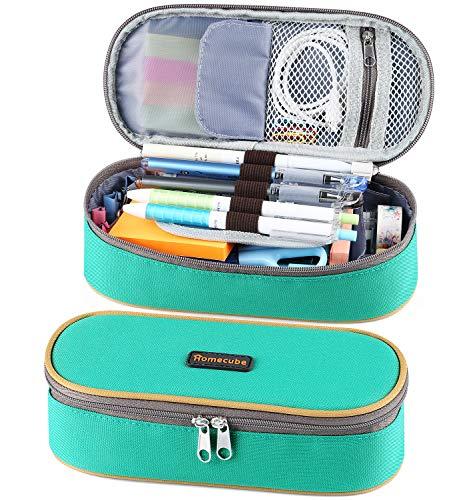 Homecube Federmäppchen, große Kapazität Federmäppchen Junge Mädchen Teenager Student Schreibwaren Federmäppchen mit zwei Reißverschlüssen langlebig (grün)