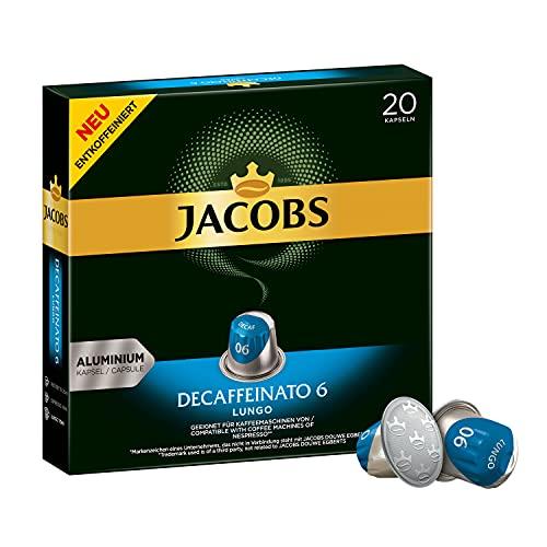 Jacobs Kaffeekapseln Lungo Decaffeinato- Intensität 6- 200 Nespresso kompatible Kapseln, 10er Pack, 10 x 20 Getränke