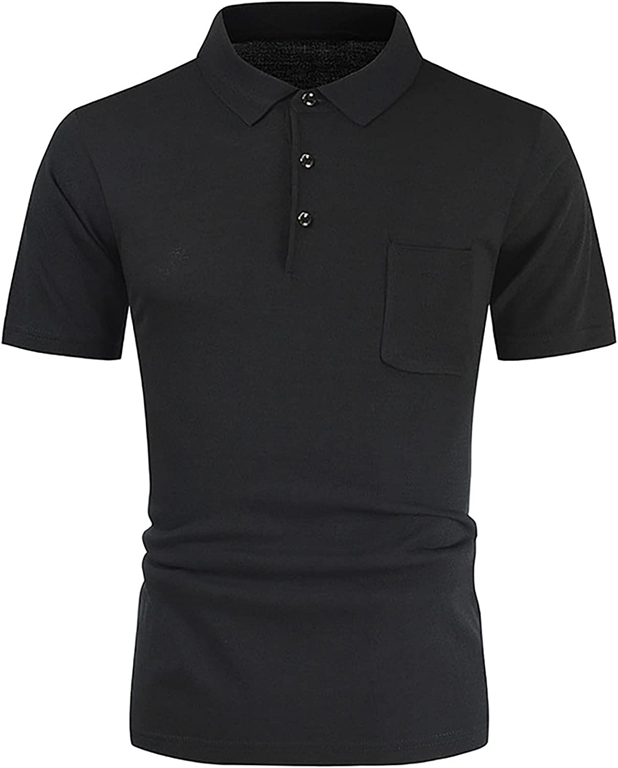 Men's Polo Shirt, Plain Classic Lapel Short Sleeve Slim Fit Shirts Lightweight Casual Tops with Pocket