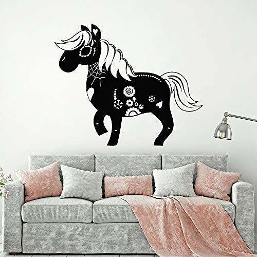 BailongXiao Lustige Muster Vinyl wandtattoo Dekoration kinderzimmer Tag Totes Pferd Zeichnung Karneval schädel Wohnzimmer wandaufkleber 33x42 cm