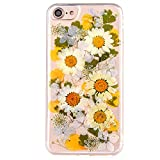Real Flower Case for iPhone 7, Elegant TIPFLY iPhone 8 Handmade Pressed Dried Flowers Soft Silicone Cover, Transparent Ultra-Thin Ultra-Light Skin for iPhone 7/8 (Real Flower 0)