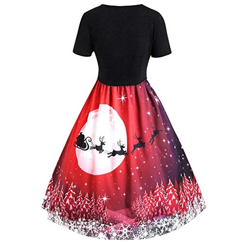 Find Bargain Hopwin Women Christmas Short Sleeve Vintage Dress | Ladies Ugly Party Xmas Dresses V Ne...