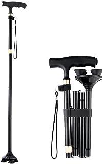 Multi-point wandelstok-opvouwbare stok antislip kruk-valpreventie hulp-telescopisch verstelbare trekkingstok met licht, zwart