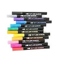 Hellery 12色セルフアウトライン金属マーカー、ダブルラインペンライティング描画絵画アーティストペンパーマネントマーカーペン子供大人初心者