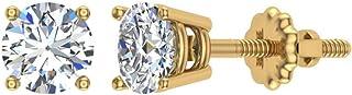 Orecchini a bottone in oro 14 carati con diamanti rotondi, brillanti, estratti dalla terra (G, I1), qualità premium