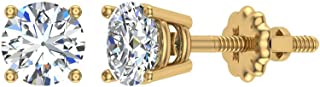 Diamond Stud Earrings for women 0.06 carat tw Small/Tiny 14K Yellow Gold earstuds (J, I1)
