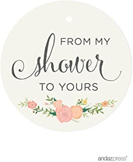 Andaz Press Baby and Bridal Wedding Shower Round Circle Party Favor Gift Tags, From My Shower to Yours, Floral Roses, 24-Pack