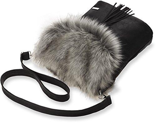 originelle Damentasche Handtasche Umhängetasche Schultertasche mit Fell und Fransen schwarz - grau