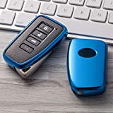 BUCAI for Lexus Key Fob Cover, Premium Soft TPU 360 Degree Overall Protection Key Shell Key Case Cover Compatible with RX200 T350 FES Class Keyless Smart Key Fob (Color : Blue)