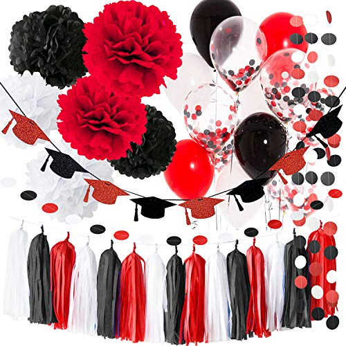 Graduation Decorations Black and Red 2021 White Black Red Graduation Party Supplies Balloons Glitter Red Black Grad Cap Garland 2021 Graduation Party Decorations Minnie Mouse Birthday Party Decorations