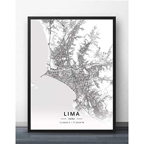 Cuadro sobre Lienzo, Cusco Lima Perú Mapa Pared Arte Cartel Decoración Impresiones, Sala De Estar Decoración del Hogar Pinturas, Murales para Niños -Sin Marco 50X70Cm, A1