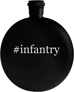 #infantry - 5oz Hashtag Round Alcohol Drinking Flask, Black