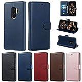 Careynoce Hülle für Samsung Galaxy S9+ Plus,Einfarbig Kalbsleder PU Leder Brieftasche Flip Cover - mit Magnetisch Ständer Kartenfach Schutzhülle HandyHüllen für Samsung Galaxy S9+ Plus - Blau