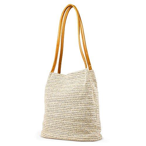 OCT17 Women Straw Beach Bag tote Shoulder Bag Summer Handbag - White