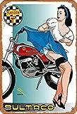 Bultaco Sherpa T Motorcycle Hot Girl Cartel de chapa de metal pintado decoración de pared moderna sala de juegos reglas de la casa