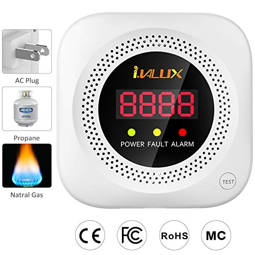 MethaneGas LeakDetector, i.VALUX Home Gas Voice Alarm Sniffer for Propane/LPG/Combustible Natural Gas, Inner Gas Sensor Detector with Digital Display
