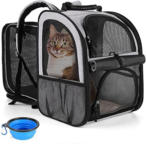 ZSTONE Mochila grande para gatos con burbujas, mochila para mascotas para perros y gatos gordos