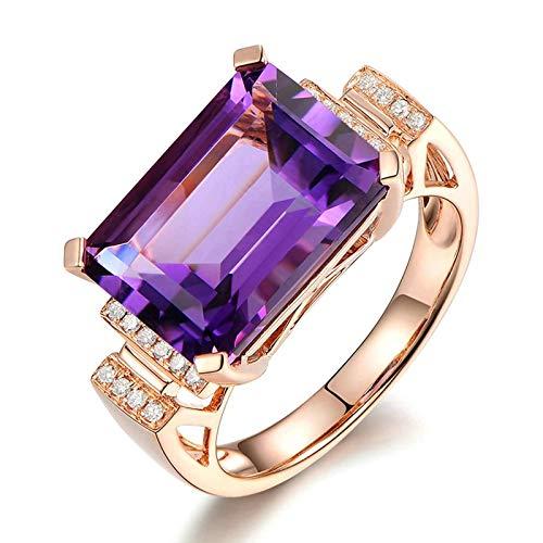 Bishilin Oro Rosa 18K Banda de Anillo de Mujer Púrpura Amatistaamatista con Incrustaciones de 6.85Ct Y Diamantes de 0.1Ct Rosa Dorado Morado Anillo de Compromiso de Boda para Mujer Talla:21