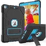 ZoneFoker Hülle für iPad 7. Generation (10.2 Zoll, 2019 Modell) mit Integriertem Ständer,Dreilagige Hybrid-Schutzhülle für Kinder,für iPad 10.2,Schwarz Blau