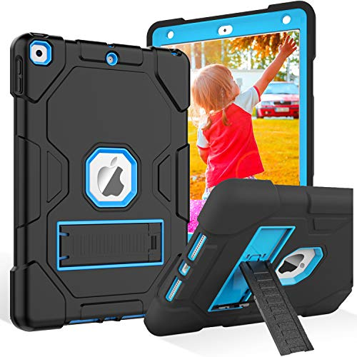 ZoneFoker New iPad 7th Generation Case, iPad 10.2 inch Case 2019, Tri-Layers Hybrid Shockproof Rugged iPad Cover for Kids with Built-in Kickstand Tablet Case for Apple iPad 7th Gen (BLACK/BLUE)