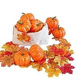 Hanizi - Juego de 12 mini calabazas realistas con 30 hojas de arce artificiales para decoración de mesa, otoño, boda, Halloween, fiesta de Acción de Gracias
