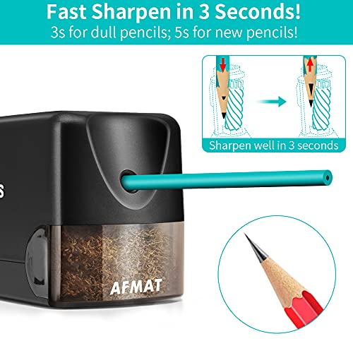 Electric Pencil Sharpener Heavy Duty, AFMAT Pencil Sharpener Electric for Classroom, UL Listed Plug in Pencil Sharpener for 6.5-8mm No.2/Colored Pencils, w/Upgraded Helical Blade(Sharpen 10000 Times) Photo #4