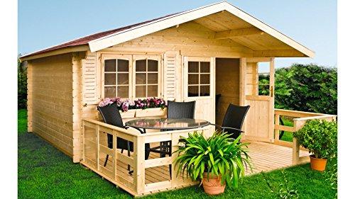 LUOMAN Set: Gartenhaus Lillevilla 279, BxT: 380x280 cm, 28 mm Natur
