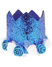 UPKOCH Bebé Cumpleaños Corona Flor Princesa Tiara Diadema Fiesta de Cumpleaños Diademas Accesorios para El Cabello para Cumpleaños Fiesta de Bienvenida Al Bebé Suministros (Sombrero Azul Real)