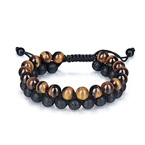 Haskare Men Healing Bracelet Onyx Tiger Eye Bead 8mm Natural Stone Chakra Healing Buddha Bracelet Braided (Tiger Eye Lava Rock)