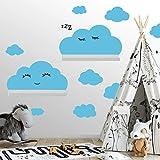Wandtattoo Wolken Set aus 7 Wolken fr IKEA RIBBA und MOSSLANDA Wandregale  Rauhfaser geeignete Wandsticker, Aufkleber, Sticker zum Kleben, Wanddeko fr Kleinkinder und Babyzimmer Dekoration Babyblau