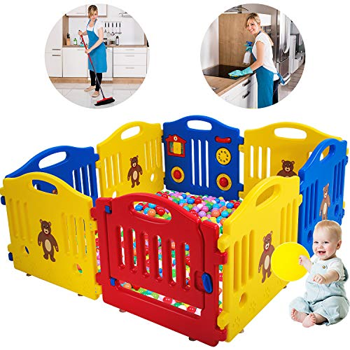 Cheapest Prices! Baby Playpen for Babies Baby Playard Infants Toddler 8 Panels Safety Kids Play Pens...