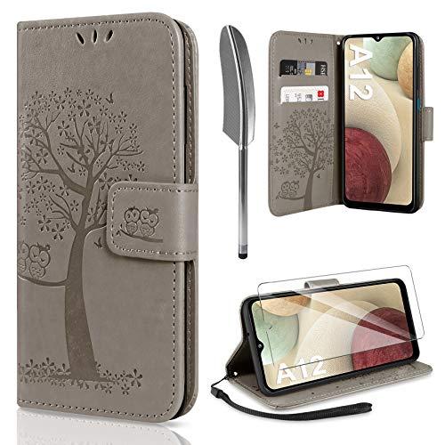 AROYI Funda Compatible con Samsung Galaxy A12   M12 y Protector de Pantalla, Soporte Plegable Tapa Flip de PU Ranuras Tarjetas Magnético Protección para Samsung Galaxy A12   M12 - Gris