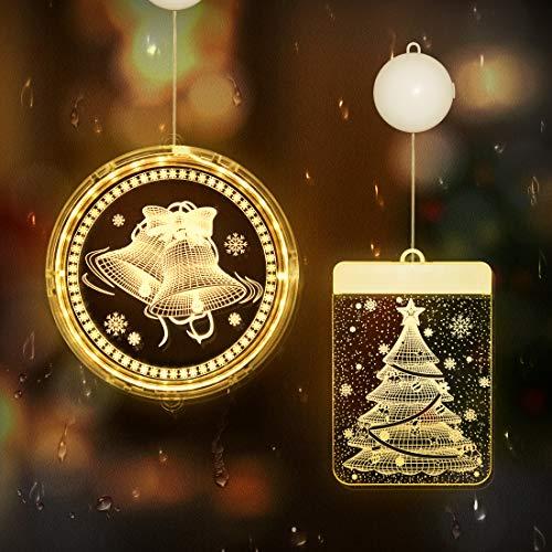 Julbelysning för utomhusfönster, hängande 3D julgransljus med sugkopp, batteri julbelysning för fönster utomhus inomhus julgran sovrumsdekorationer (varm vit, 2 stilar)