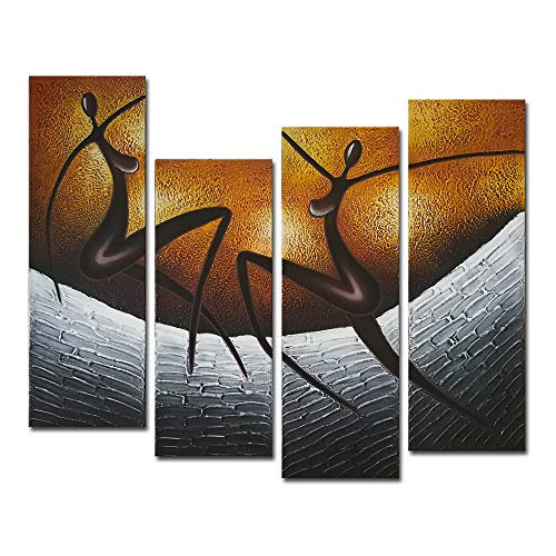 Wieco Art 4-Piece African Dancers Stretched and Framed...