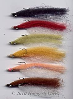 Haggerty Lures Clouser Minnow Flies-Earth Tones-6pk-Unweighted Bead Chain Eye Wet Fly-Fly Fishing Bass Bonefish Trout Streamer